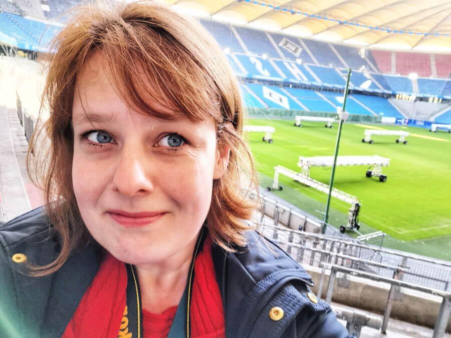 Standort Hamburg bij de rondleiding in het HSV-stadion