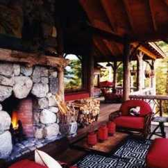 Red Adirondack Chairs Modern Kitchen Table And The Rustic Stone Fireplace . Amazing Designs!