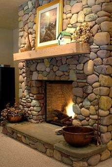 Standout River Rock Fireplace Designs    All Time Favorites