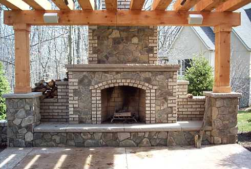 pergola plans with fireplace