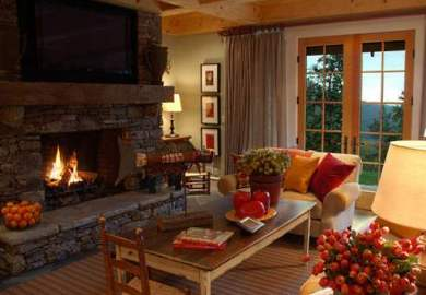 Living Rooms With Brick Fireplaces
