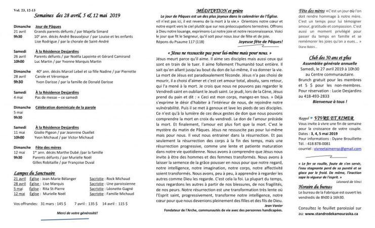 Feuillet paroissial- Semaines des 28 avril, 5 & 12 mai 2019