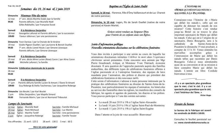 Feuillet paroissial- Semaines du 19, 26 mai & 2 juin 2019