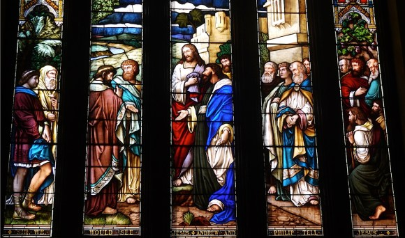'Sir, we would see Jesus', Andrew and Philip tell Jesus. The Great South Window, of St. Andrew's Church Kingston