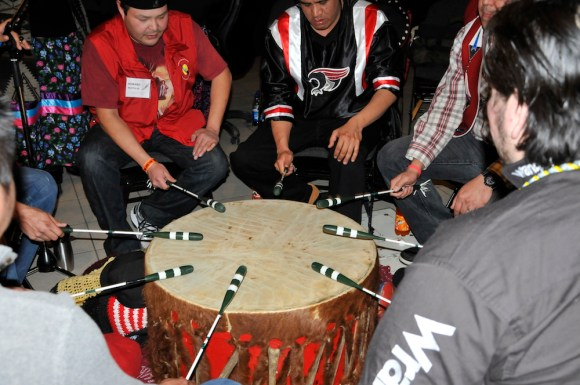 A Drum Circle at the Edmonton Truth and Reconciliation Events March 2014