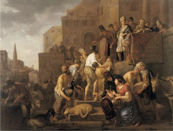 Claes Cornelisz Moeyaert, Joseph Selling Grain in Egypt, around 1650, oil on canvas. Agnes Etherington Art Centre, Queen's University, Gift of Dr. and Mrs. Alfred Bader, 1980 (23-038)