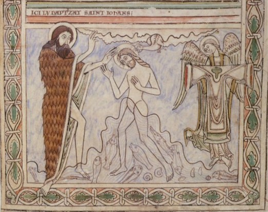 Winchester England Priory of St Swithun or Hyde Abbey  1121- 1161 Winchester Psalter Psalter of Henry of Blois Psalter of St Swithun -Baptism of Christ angel holds robe