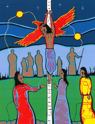 """Ovide Bighetty  """"Creating a New Family""""  One of a series of paintings called """"Kisemanito Pakitinasuwin"""" - The Creator's Sacrifice - commissioned by the Indian Metis Christian Fellowship of Regina, of the Christian Reformed Church."""