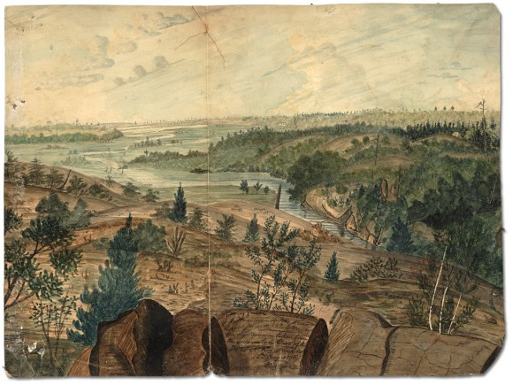 View of the Great Cataraqui Bay or South Entrance of the Rideau Canal with  Kingston in the distance – taken from the Mountain East of the Locks at Kingston Mills, 1830 Watercolour Thomas Burrowes fonds Reference Code: C 1-0-0-0-77 Archives of Ontario, I0002196
