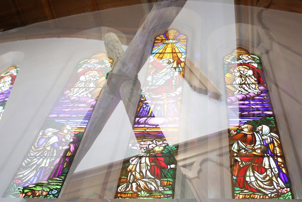 Stained glass inside the church