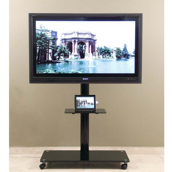 Transdeco 65 In. Tv Stand With Attached Mounting System Black Td570b