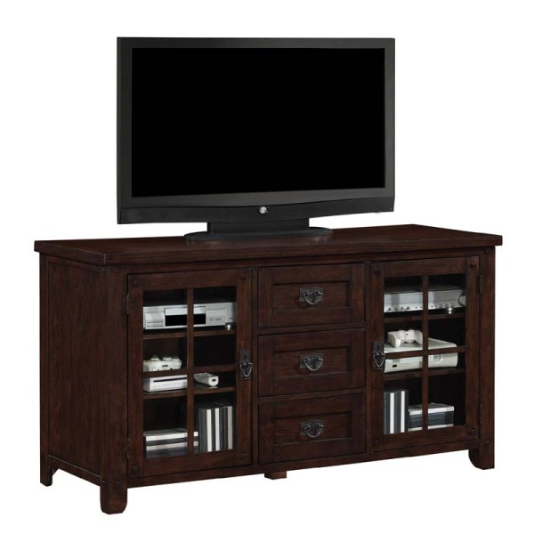 Tresanti Dakota Collection 65 Tv Stand With Windowpane Doors Caramel Oak Tc60-1066-o128