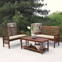 Walker Edison 3 Piece Acacia Wood Patio Conversation Set