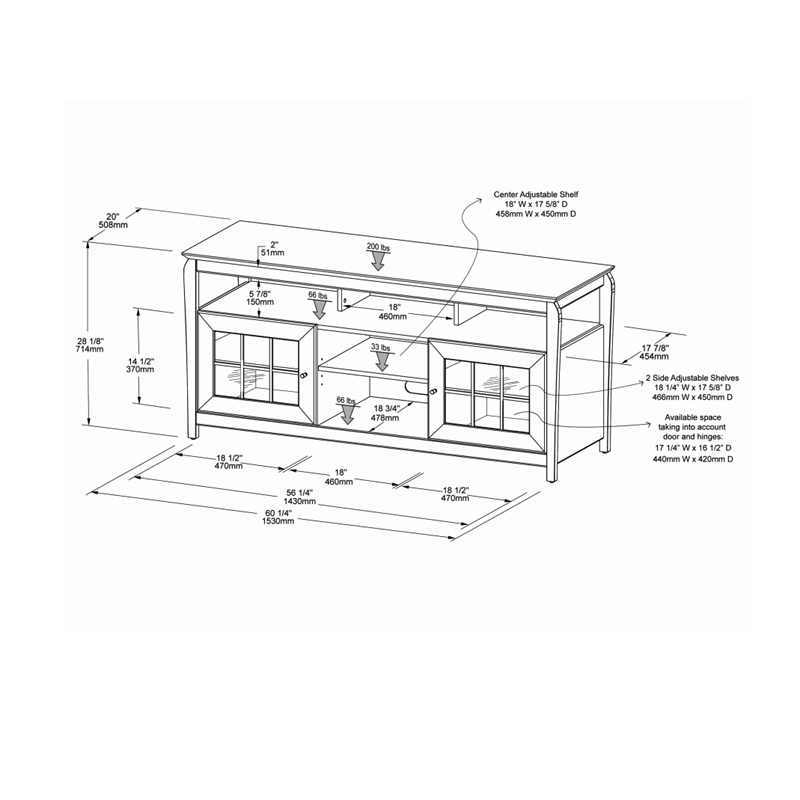 Tech Craft Veneto Series Windowpane TV Cabinet for 48-60