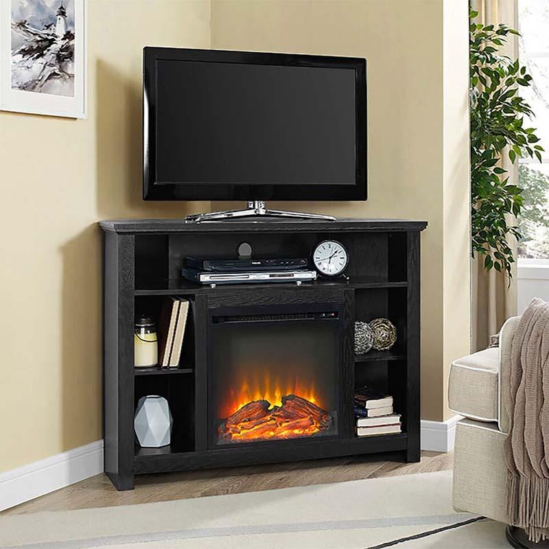 Walker Edison Corner Fireplace TV Stand Black W44FPHBCBL