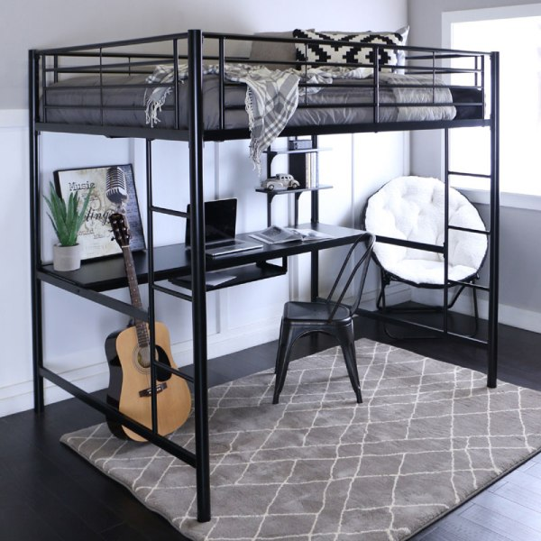 Walker Edison Steel Full Size Loft Bed With Computer
