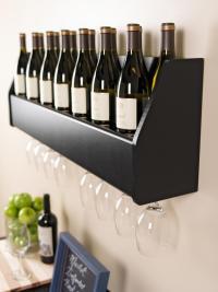 Prepac Wall Mounted Floating Wine Rack Black BSOW