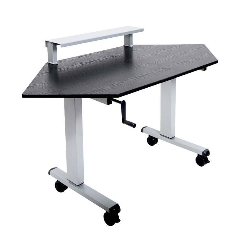 Luxor Adjustable Height Stand Up Corner Desk Silver and