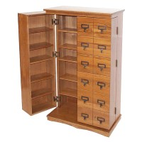 Leslie Dame Library Style Multimedia Storage Cabinet Dark ...