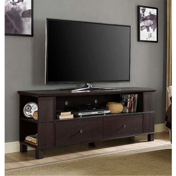 Walker Edison 65 Tv Stand With Multimedia Storage Espresso P60cmpes
