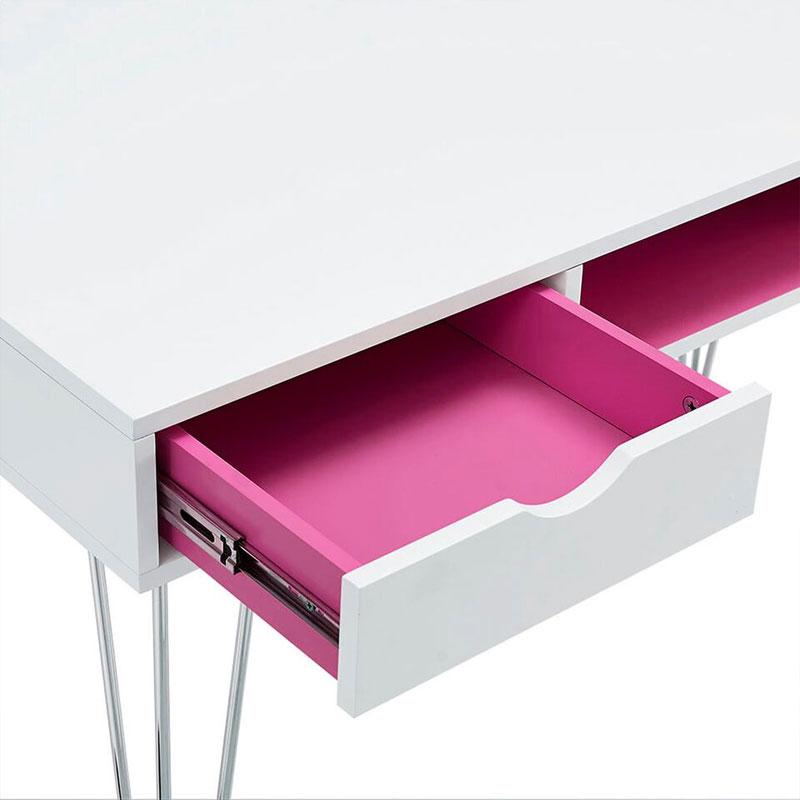 Walker Edison D48CA1PK Hot Pink Color Accent Desk