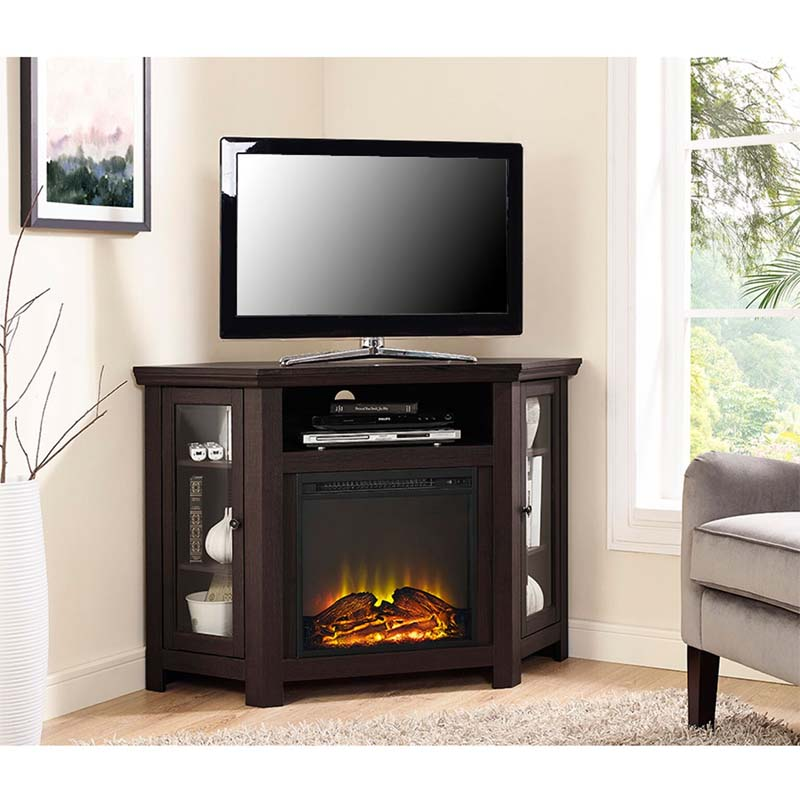 Walker Edison Corner Fireplace TV Stand for 50 inch Screens Espresso W48FPCRES
