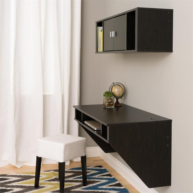 Prepac Designer Wall Mounted Floating Desk and Hutch Set