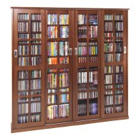 Leslie Dame Glass 4-Door Multimedia Storage Cabinet Walnut ...