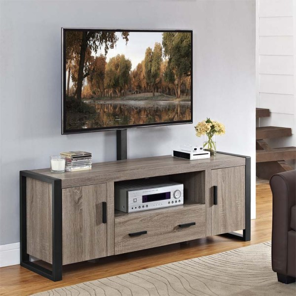 Walker Edison Urban Blend 60 Tv Stand With Mount Driftwood And Black W60ubc22ag-mt