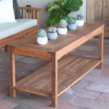 Walker Edison Acacia Wood Patio Coffee Table Brown Owctbr