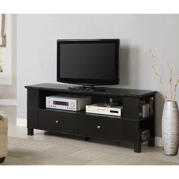 Walker Edison 65 Tv Stand With Multimedia Storage Black P60cmpbl