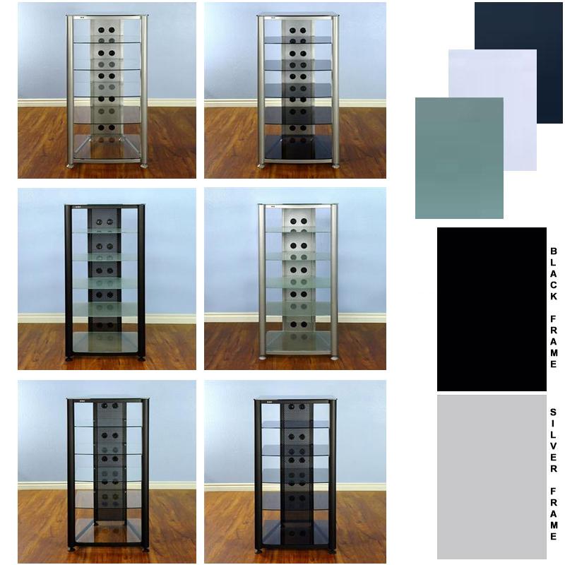 vti 6 shelf glass audio rack various finishes rgr406
