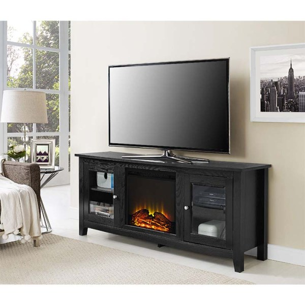 Walker Edison 60 Tv Stand With Electric Fireplace Black W58fp4dwbl