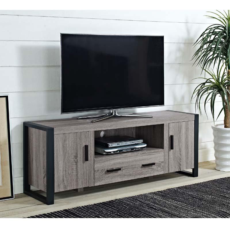 Walker Edison Urban Blend 65 inch TV Console Ash Gray and Black W60UBC22AG