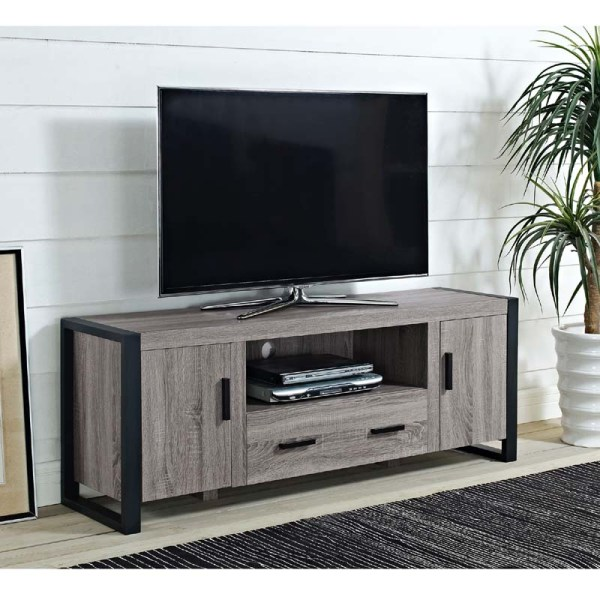 Walker Edison Urban Blend 65 Tv Console Ash Gray And Black W60ubc22ag