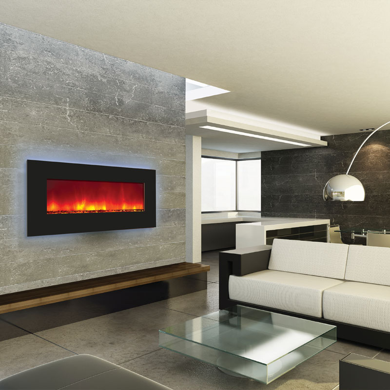 Amantii Backlit Wall Mount or Builtin Electric Fireplace w 44x23 in Black Glass Surround WMBI