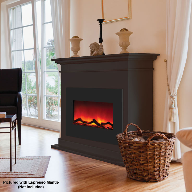 Amantii Zero Clearance Electric Fireplace w 29x23 in Black Glass Surround ZECL262923