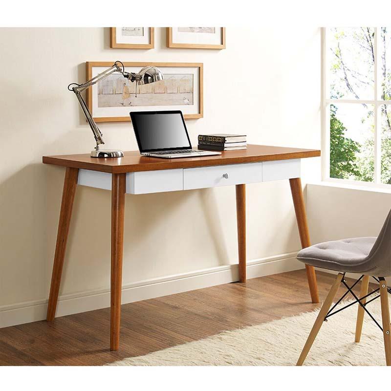 Walker Edison Mid Century Wood Computer Desk Acorn Brown