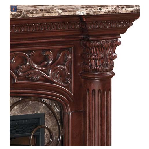 Classic Flame Astoria Wall Mantel Electric Fireplace with Marble Top Cherry 33WM0194C232