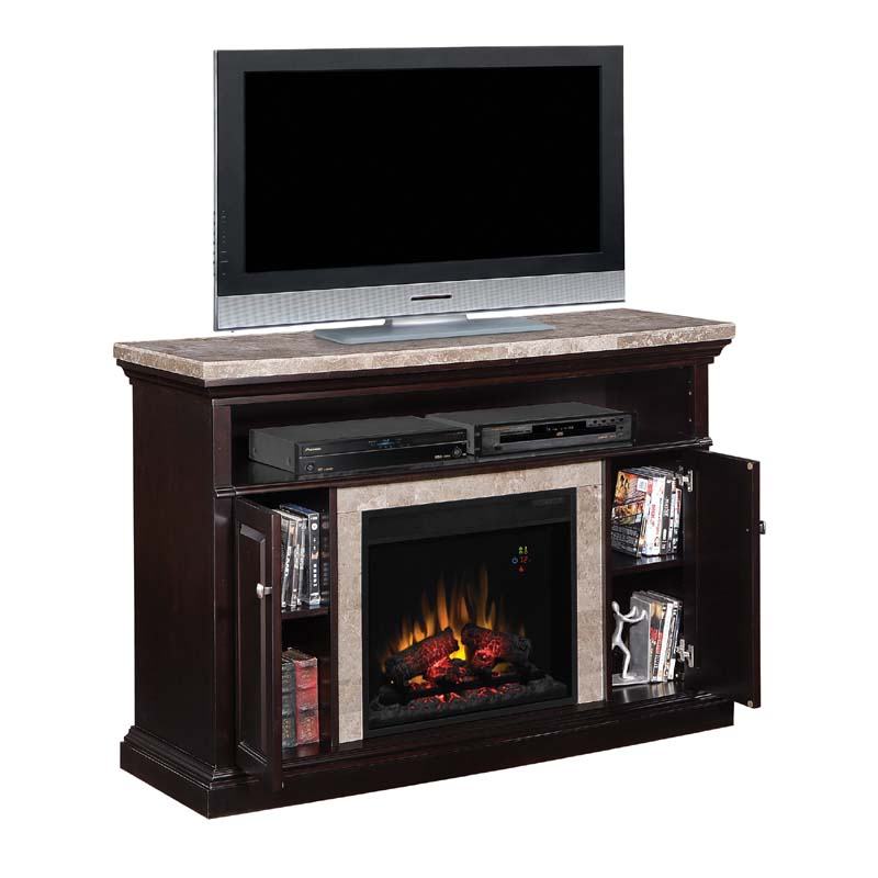 Classic Flame Brighton Media Mantel with Electric Fireplace Insert and Marble Top Black 23MM1424