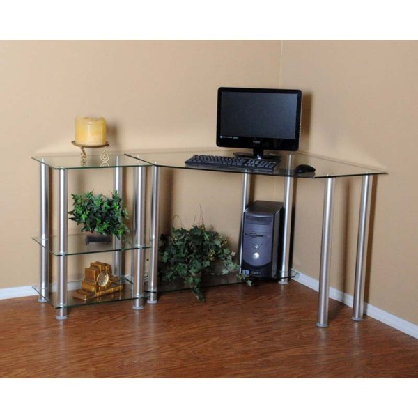 Rta Clear Glass Corner Computer Desk With 20