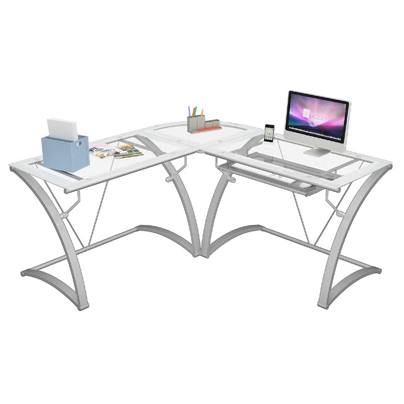 ZLine Designs Kora L Shaped Corner Desk White with