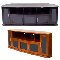 Plateau Newport Series Corner Wood TV Cabinet with Glass ...