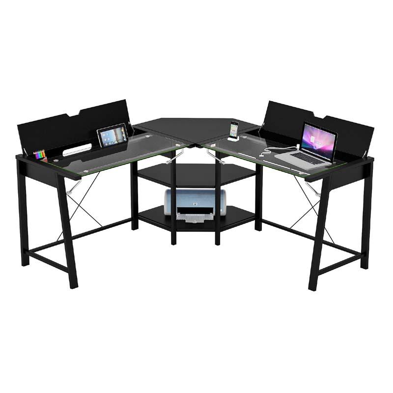 ZLine Designs Vance Corner Desk with Hidden Storage Black