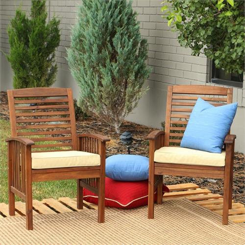walker edison owc2db set of two sundowner dark brown wood patio chairs
