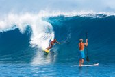 """BEN THOUARD (Left page, top) Raimana Van Bastolaer is on Laird's short, """"who impresses me"""" list. As for his leash tucked into his shorts to alleviate drag, did Laird borrow that idea from the river sup crew, or was it the other way around?"""