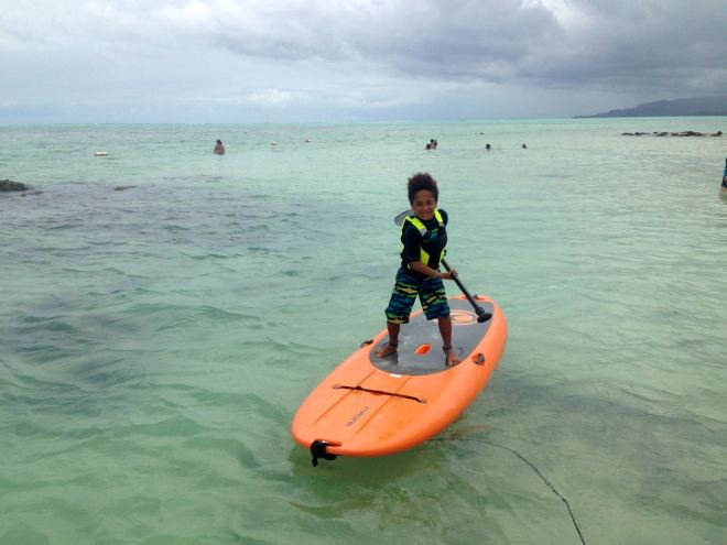 7 year old and Stand Up Paddling