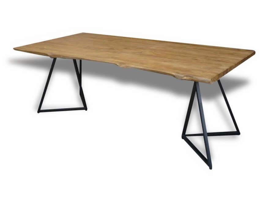 table a diner en bois de teck recycle et pieds en metal forme rare