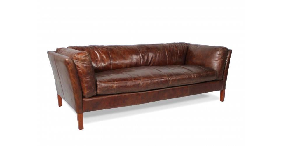 canape conrad cuir vintage marron 3 places