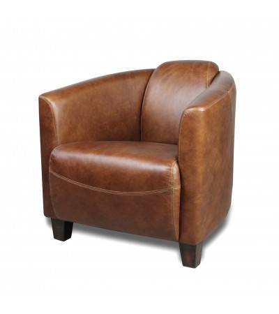 fauteuil club cuir vintage marron billy